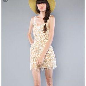Free People Crochet Fringe Dress/ Top Ivory M